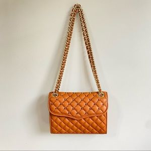 Rebecca Minkoff gold studded quilted crossbody bag
